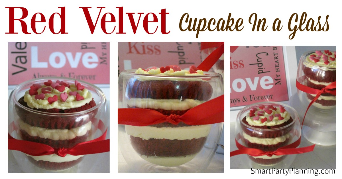 Provide an extra special treat this Valentines with a red velvet cupcake in a glass. Your Valentine will love it. Rich, creamy and delicious.