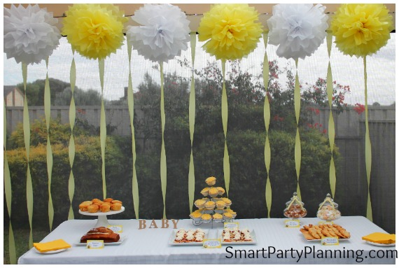 Yellow baby shower dessert table