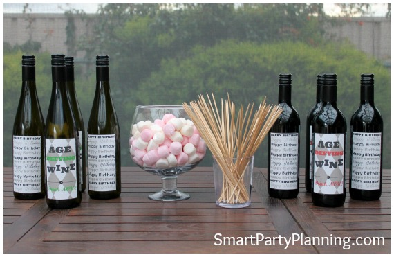 Bonfire Party and Printable Wine Labels