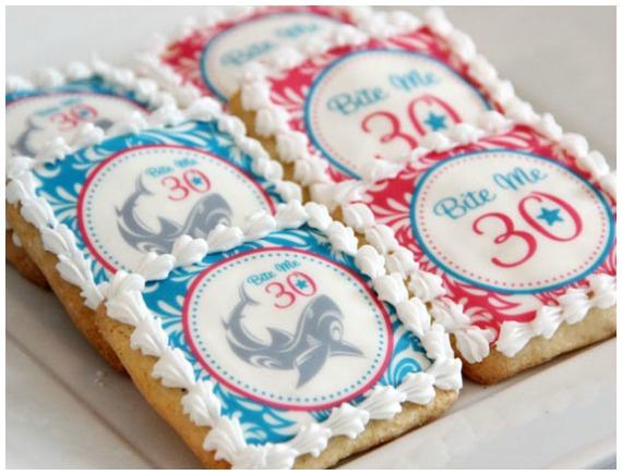 30th birthday shark cookies