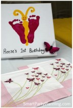Butterfly theme party feet print