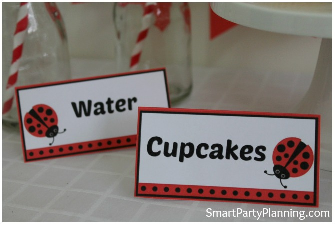 Ladybug printables food labels