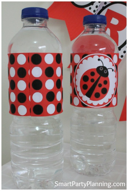 Ladybug printables water bottle labels