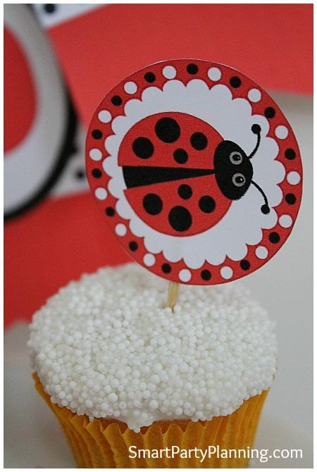 Ladybug printables cupcake toppers