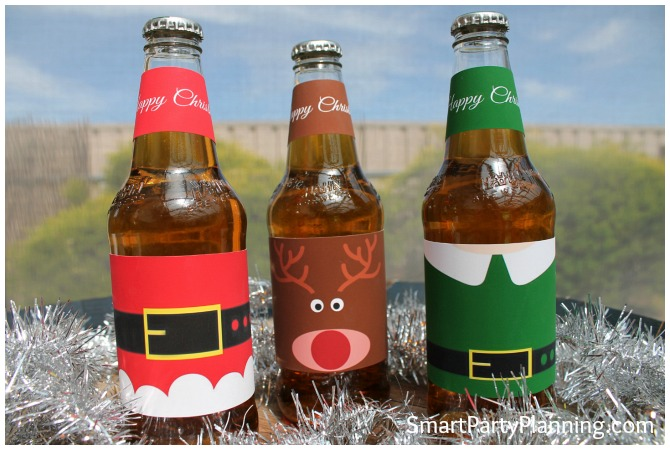 Santa, Rudolf and Elf Christmas beer labels