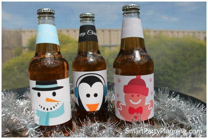 Snowman, Penguin and Gingerbread man Christmas beer labels