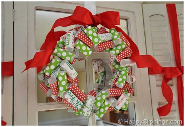 Rolled paper Christmas wreath