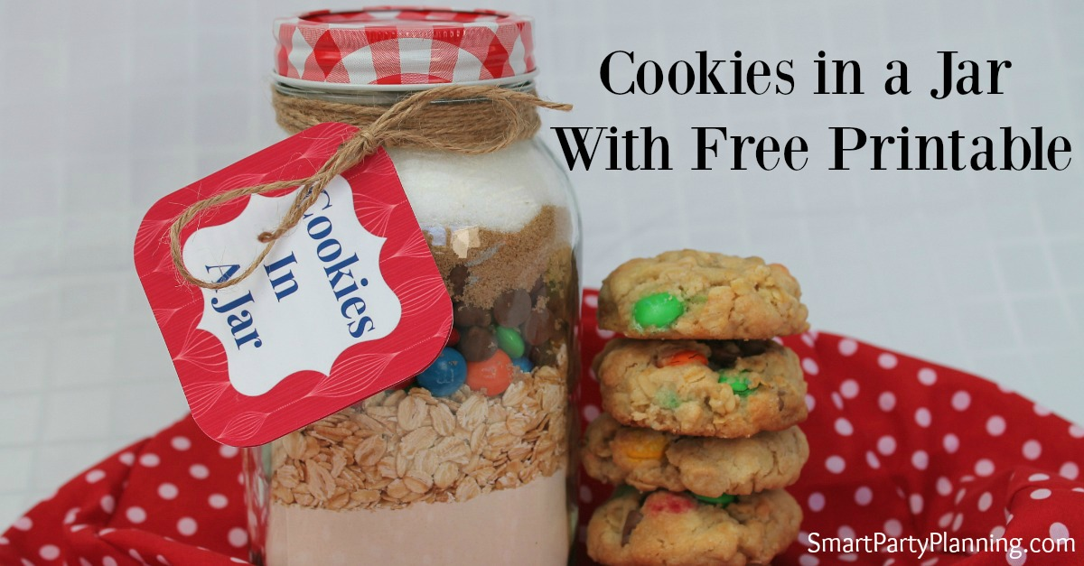 Cookies in a jar with free printable FB