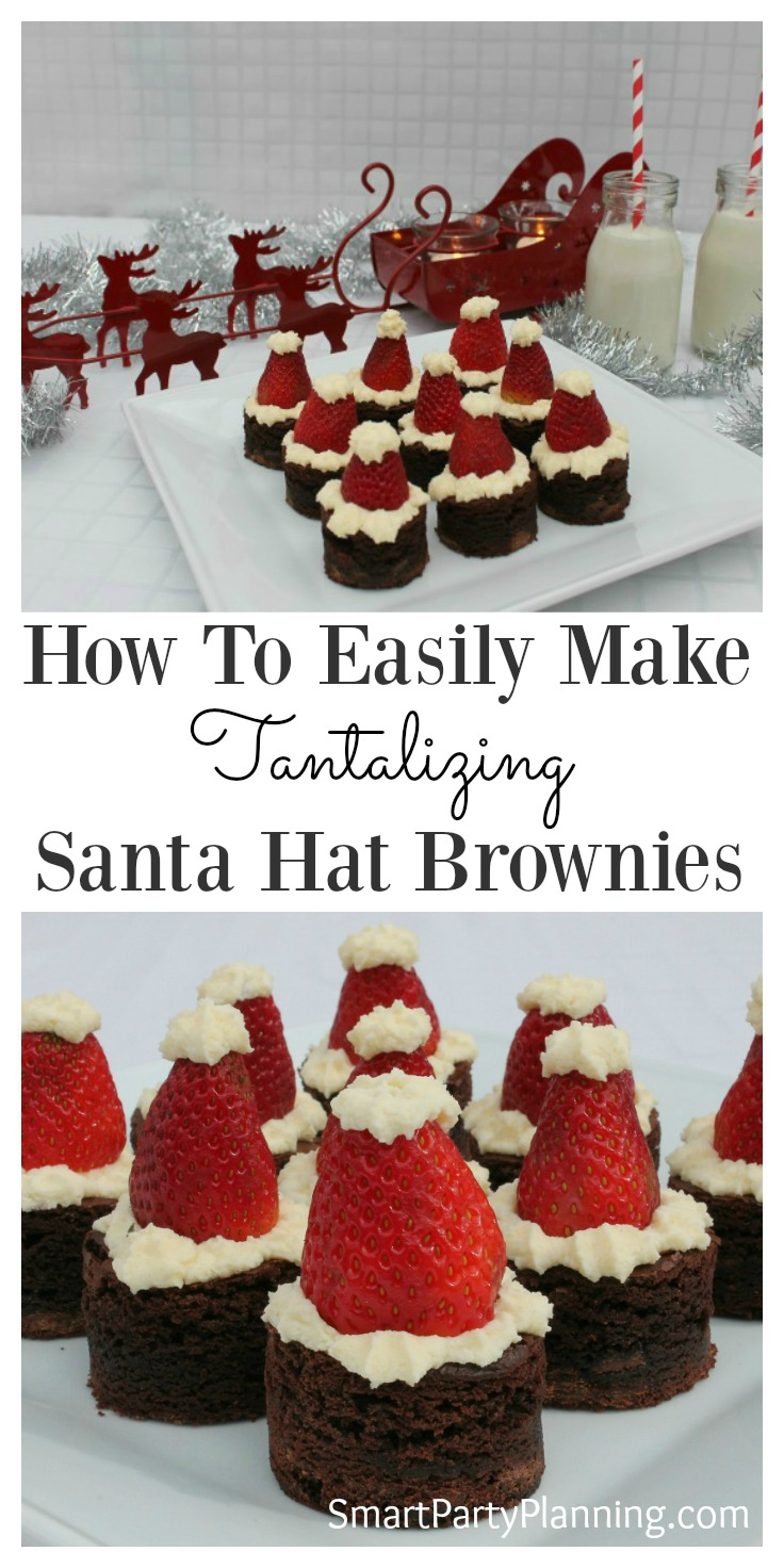 Santa hat brownies are the perfect Christmas treat.  With the combination of chocolate, strawberries and cream they are a delight to the taste buds. The whole family will love this recipe and can be enjoyed throughout the holidays. They are one of the easiest Christmas desserts to make.