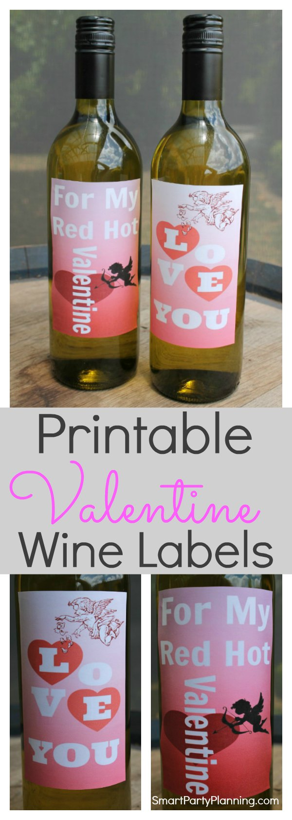 These Printable Valentine wine labels are the perfect way to share the love this Valentine's day. Use as a Valentine's gift, take to a picnic, or bring the bottle out at a romantic dinner for two.  Either way, the extra special touch will be sure to highlight the love this Valentine's.