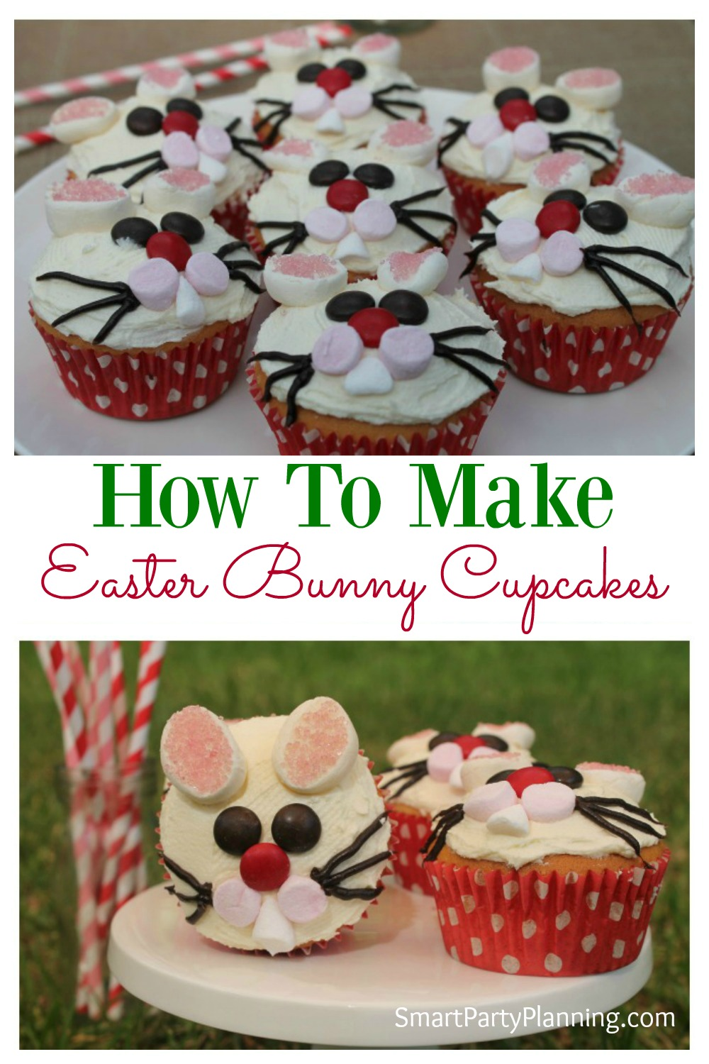 Easter bunny cupcakes are incredibly easy to make and they look fantastic. Follow this simple step by step tutorial and make these cheeky bunny cupcakes with the kids.  If you are looking for an easy dessert that the whole family will love, then this one is for you.  So fun! #Easter #Bunnycupcakes #Bakingwithkids