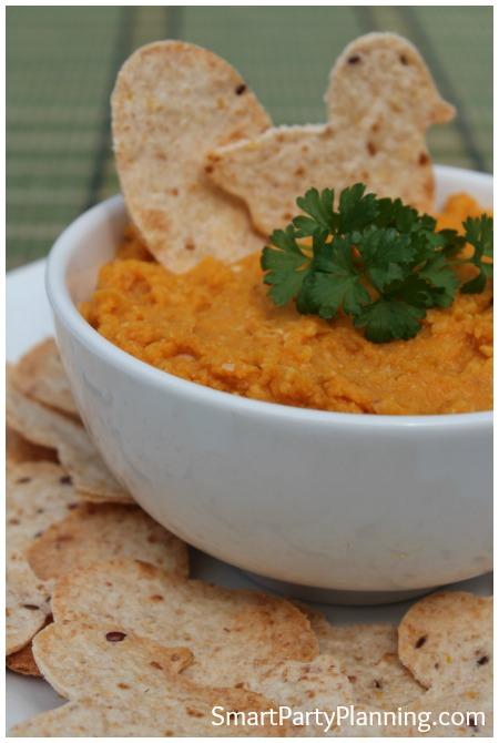 Pumpkin Hummus Dip and Chips