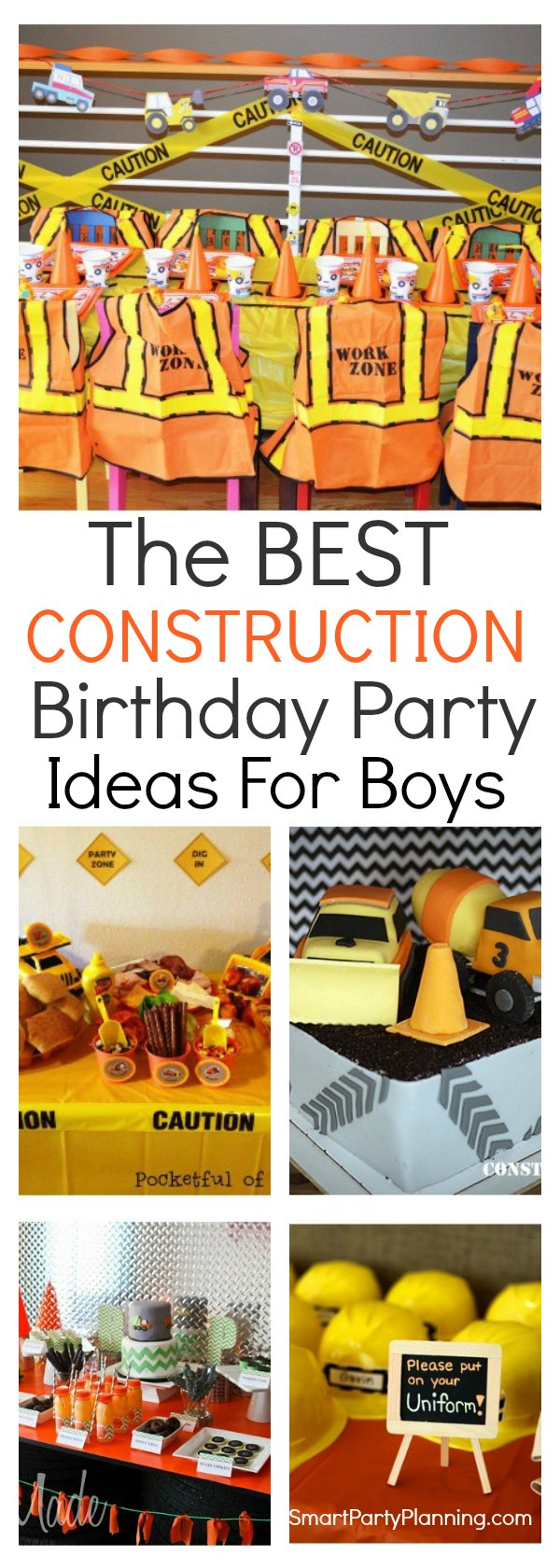 Boys are going to go nuts over these construction birthday party ideas.  With fun filled games, decorations, food and favors, this is a very popular party theme.  It's easy to create yourself with just a few simple party props and party décor.