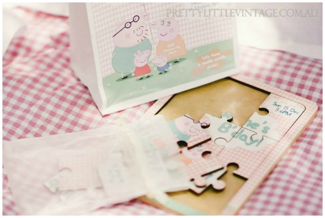 Wooden Peppa Pig Party Invitation