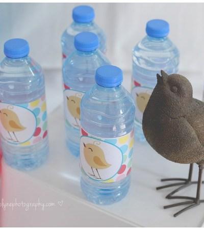 Bird water bottle labels