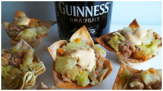 Cabbage and Corn beef Wonton Cups
