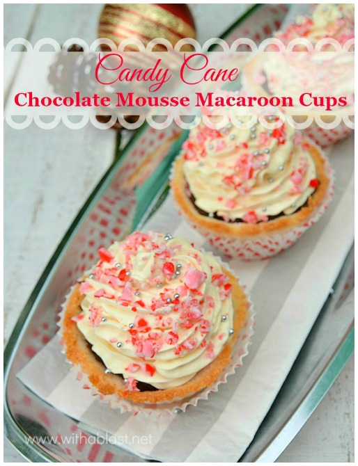 Candy Cane Chocolate Mousse Macaroon Cups-P