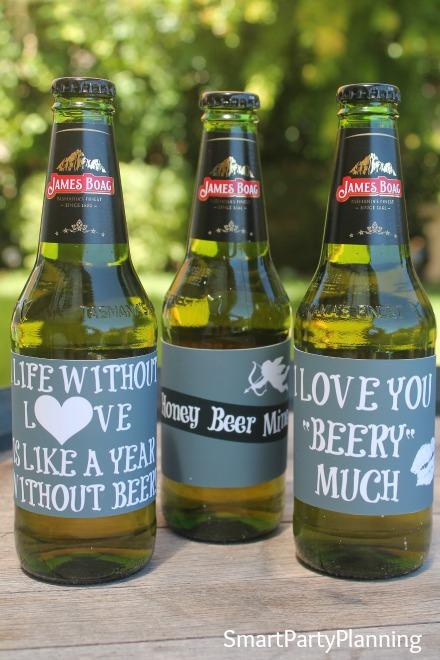 3 designs of Valentine beer labels