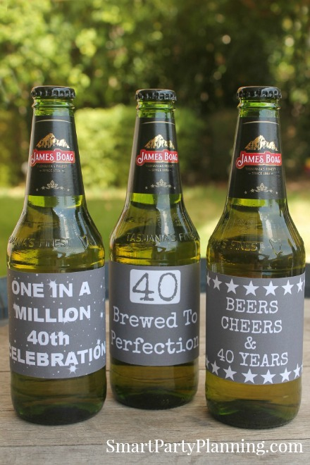 40th Birthday Chalk Board Beer Labels