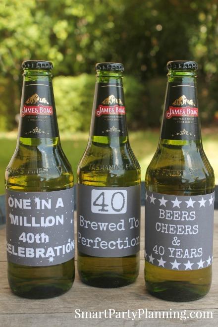 40th Birthday Chalk Board Beer Labels