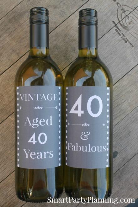 40th Birthday Wine Labels