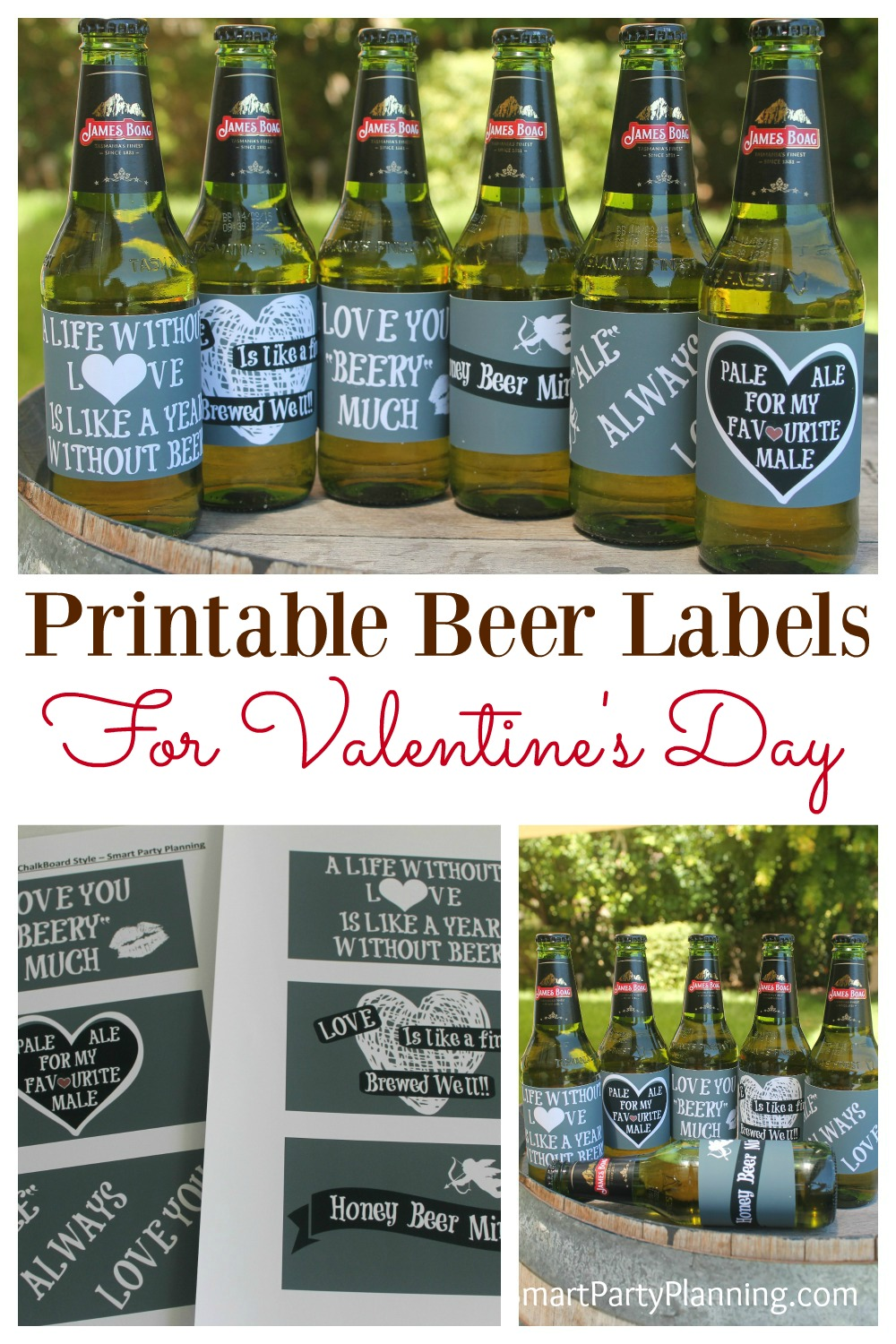 "Say ""I Love You"" with beer! DIY Valentine printable beer labels are absolutely perfect for Valentine's day. As far as gift ideas go, this one is a winner for the boyfriends and husbands. With some special love sayings (especially for beer), you can't go wrong with this DIY gift."