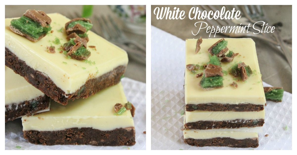 White Chocolate Peppermint Slice; bite into a sweet, crunchy chocolate base with peppermint crisp bites and a thin crispy white chocolate top.