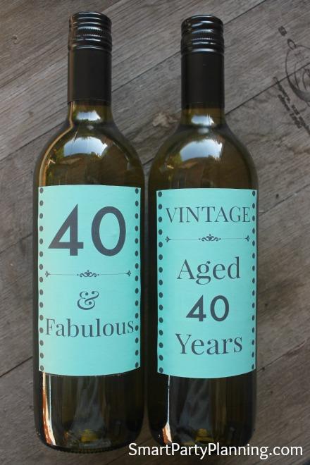 Green 40th Wine Bottle Labels