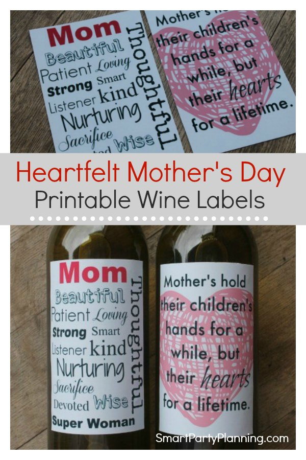 Heartfelt Printable Mother's Day Wine Labels