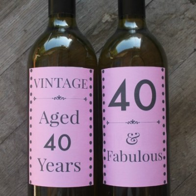 40th Birthday Wine Labels