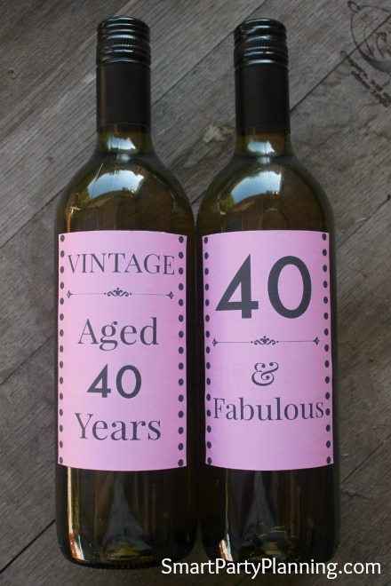 Pink 40th Wine Bottle Labels
