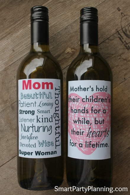 Printable Mother's Day Wine Labels on the bottles