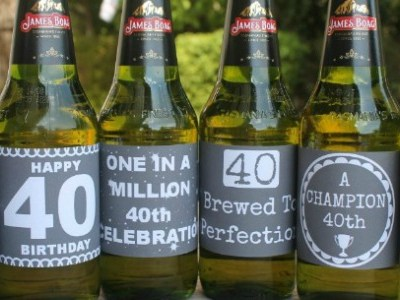 40th Birthday Beer and Wine Printable Labels