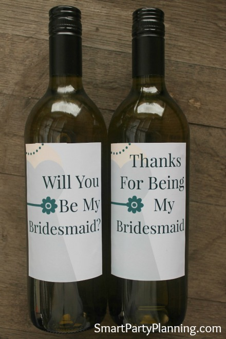 Printable Will You Be my Bridesmaid Wine Labels Grey