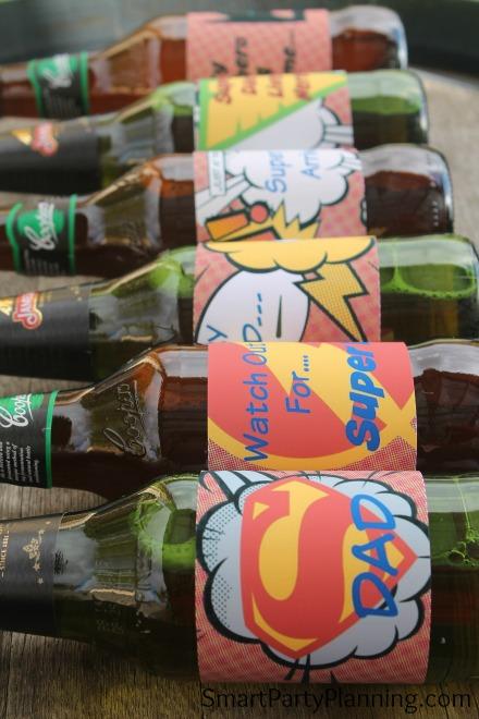 Row of super dad printable beer labels