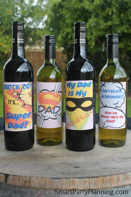 Set of 4 wine bottles with super dad cool wine labels