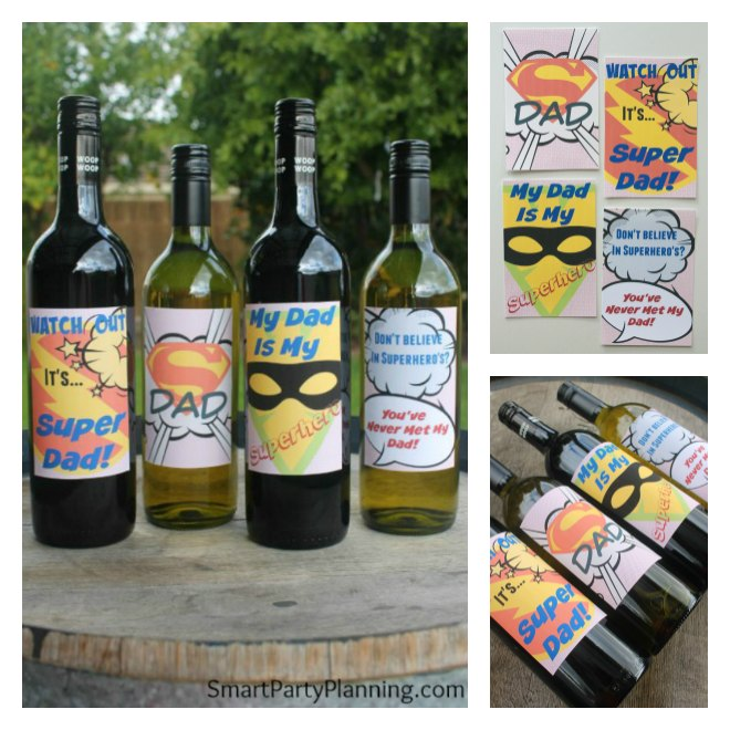 Awesome super dad wine labels