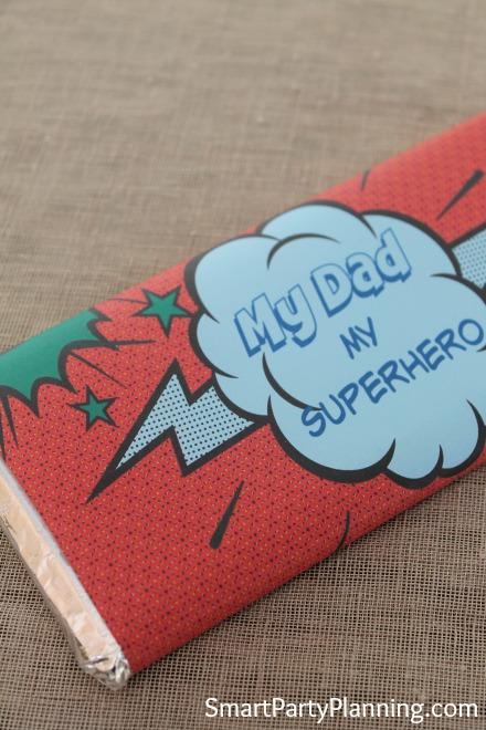 superhero dad printable hershey bar wrappers