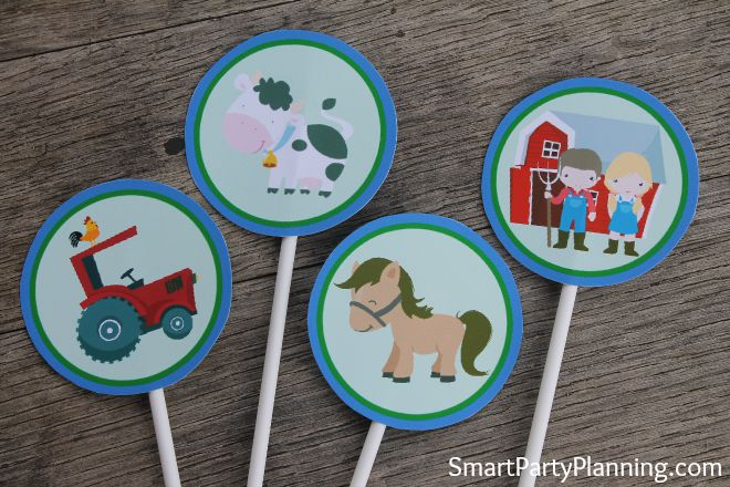 Printable Barnyard Cupcake Toppers
