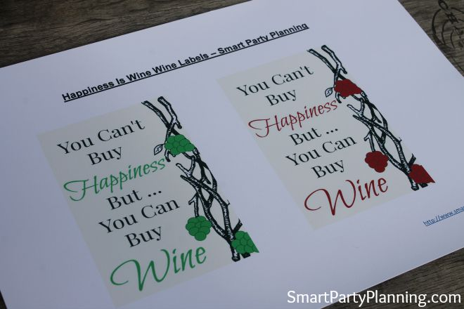 Printable Wine Labels Happiness Is