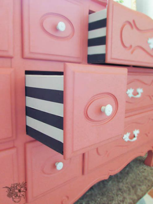 Striped dresser drawers