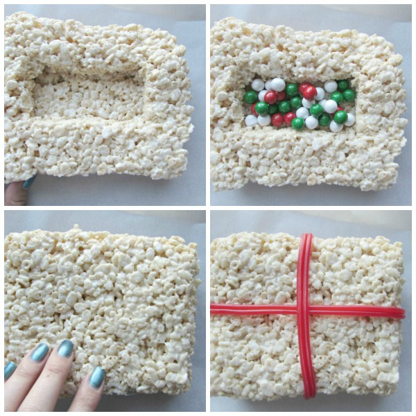 Large rice krispies treat Christmas present
