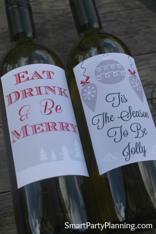 Printable Eat drink and be merry wine labels
