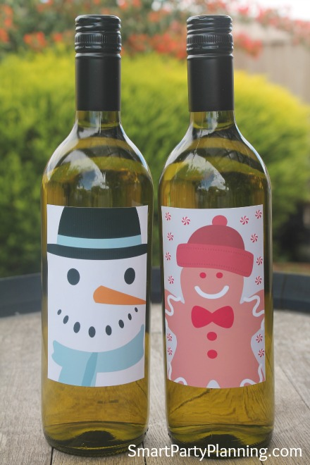 Printable Snowman & Gingerbread Man Wine Labels
