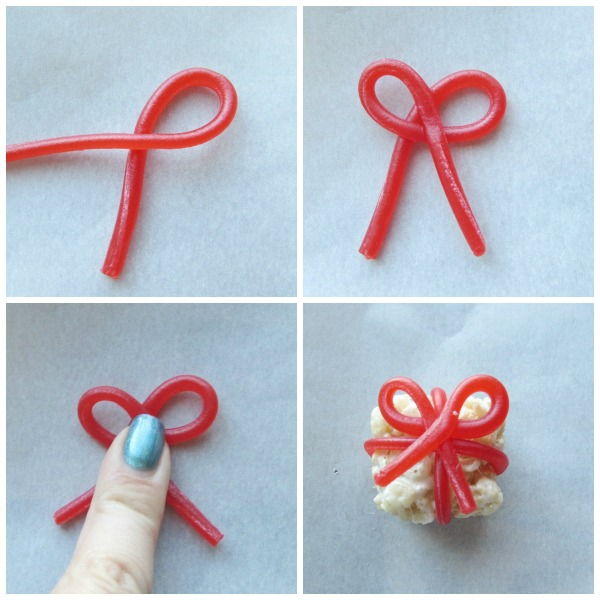 making a bow out of twizzlers