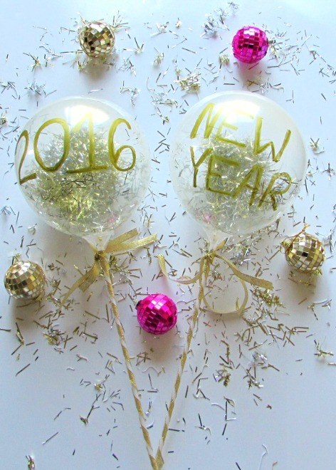 Confetti filled balloon wands are a fun decoration for New Years