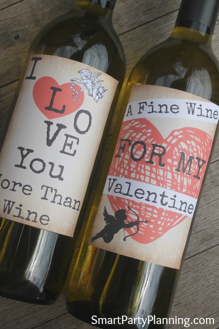Easy Printable Valentine's Wine labels