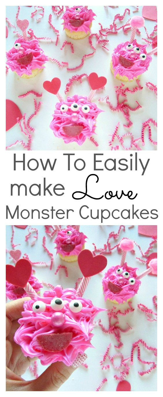 Valentine's day love monster cupcakes. The cute and cuddly kind that everyone will love. It's an easy to follow tutorial that the kids will have fun decorating. They are perfect for cute monster parties too!