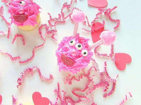 Pink love monster cupcake
