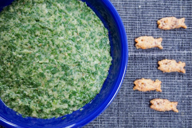 Eggplant, spinach and white bean dip